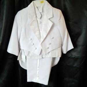2T Toddler Boys White 4pc Suit Religious Baptism